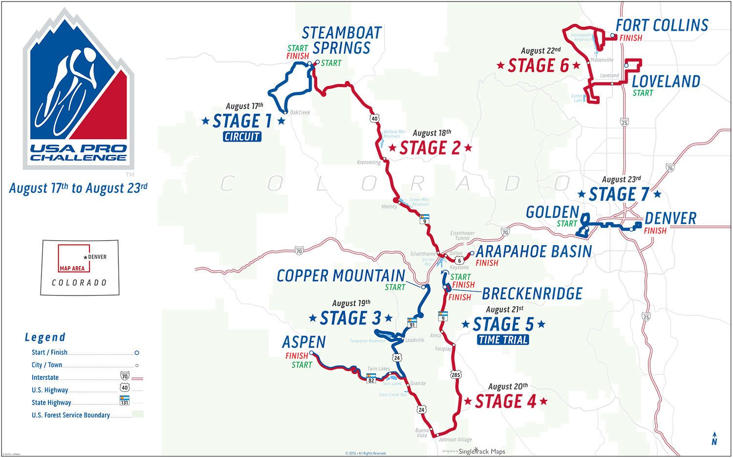 Us Pro Cycling Challenge Route Map USA Pro Challenge   Stage 1